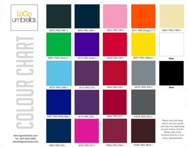 Promotional Umbrellas - Logo Umbrellas Colour Chart 2020