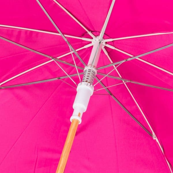 Super strong fibre-glass ribs in the Über Wooden Walker Promotional Umbrella