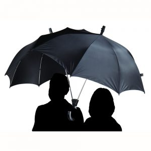 branded dual logo umbrellas